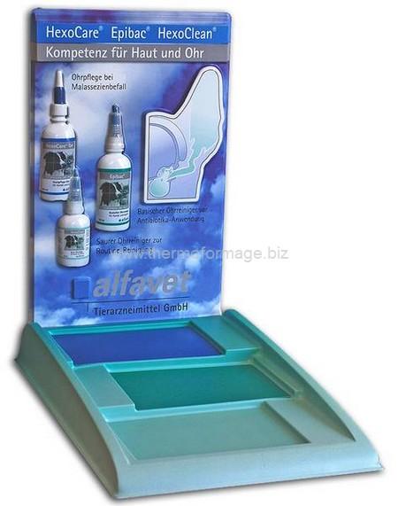présentoir de comptoir avec affiche de dos en relief