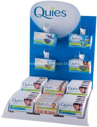 présentoir - distributeur de comptoir avec logo au dos et présentation des produits