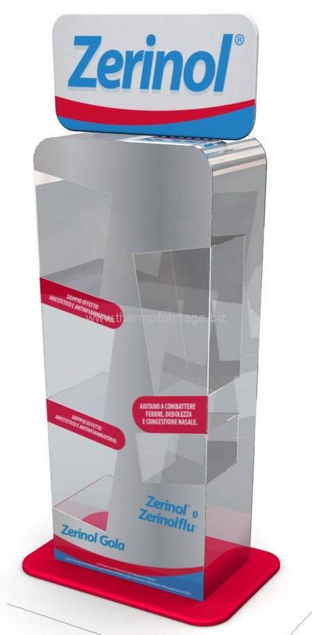 thermoformage - présentoir de comptoir à étagères